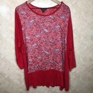 Lucky Brand Bohemian Paisley Printed Top 3X